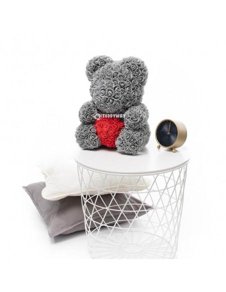 Grey Rose Teddy Bear 45 CM – 18 Inch – Oti Rose Bears - Rose Teddy Bears - Flower Teddy Bears