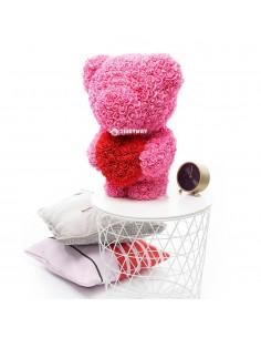 Pink Rose Teddy Bear 60 CM – 24 Inch – Ovi Rose Bears - Rose Teddy Bears - Flower Teddy Bears