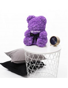 Purple Rose Teddy Bear 40 CM – 16 Inch – Oni Rose Bears - Rose Teddy Bears - Flower Teddy Bears