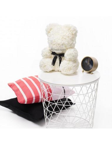 White Rose Teddy Bear 40 CM – 16 Inch – Oni Rose Bears - Rose Teddy Bears - Flower Teddy Bears - Teddyway