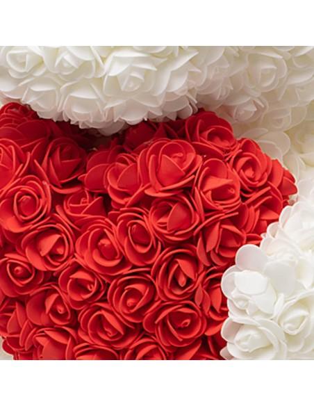 White Rose Teddy Bear 60 CM – 24 Inch – Ovi Rose Bears - Rose Teddy Bears - Flower Teddy Bears