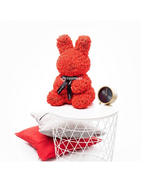 Red Rose Bunny 40 CM – 16 Inch – Oki Rose Bears - Rose Teddy Bears - Flower Teddy Bears - Teddyway