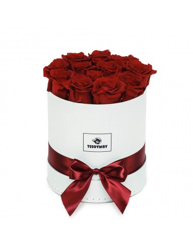 Eternal Red Roses In White Box - M Flower Boxes - Eternal Roses In Box - Box With Flowers - Boxed Roses Flowers - Teddyway