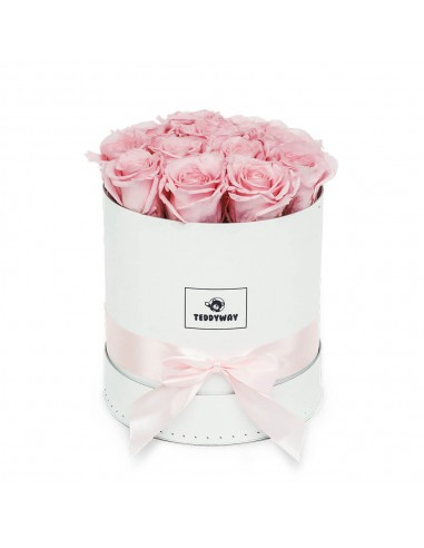 Eternal Pink Roses In White Box - M Flower Boxes - Eternal Roses In Box - Box With Flowers - Boxed Roses Flowers - Teddyway