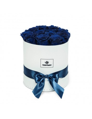 Eternal Blue Roses In White Box - M Flower Boxes - Eternal Roses In Box - Box With Flowers - Boxed Roses Flowers - Teddyway