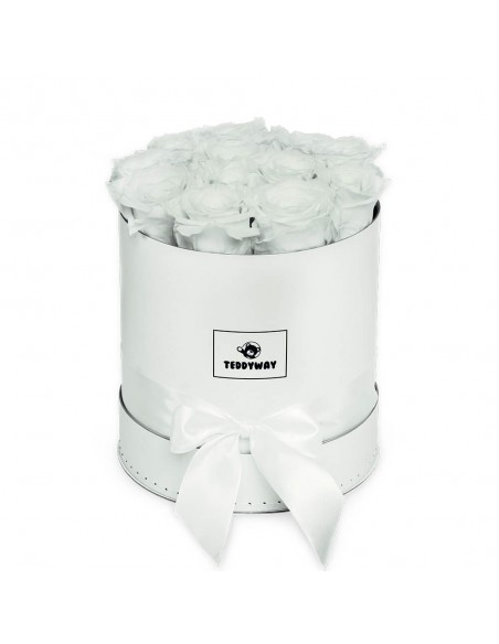 Eternal White Roses In White Box - M Flower Boxes - Eternal Roses In Box - Box With Flowers - Boxed Roses Flowers - Teddyway