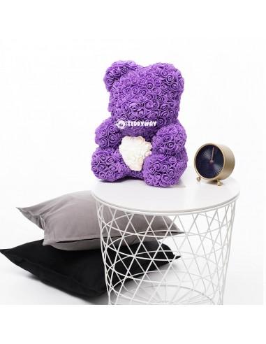Purple Rose Teddy Bear 45 CM – 18 Inch – Oni Rose Bears - Rose Teddy Bears - Flower Teddy Bears - Teddyway