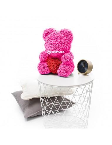 Pink Rose Teddy Bear 45 CM – 18 Inch – Oni Rose Bears - Rose Teddy Bears - Flower Teddy Bears - Teddyway