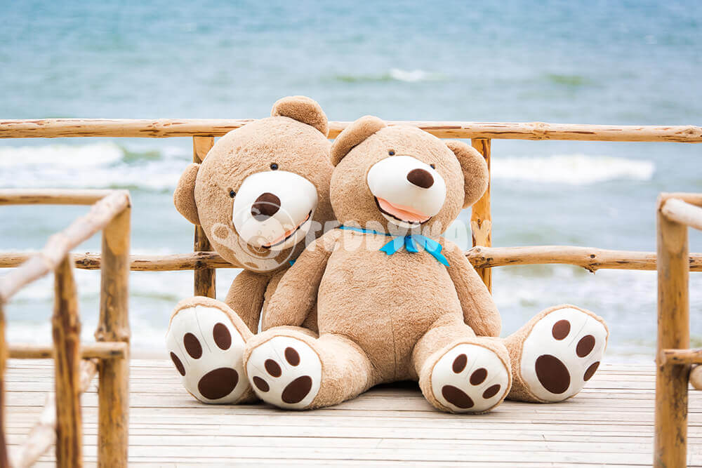 Giant teddy bears near sea - TeddyWay